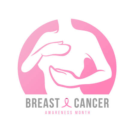 breast cancer awareness month banner with abstract pink woman Self Check For Breast Cancer in circle and pink ribbon sign vector design