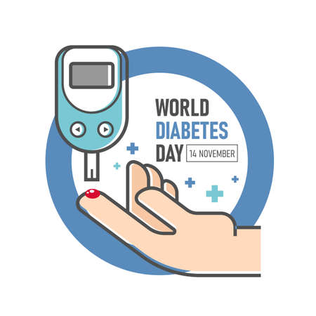 World diabetes day - Diabetes Blood Glucose Meter and hand on blue ring circle vector design 向量圖像