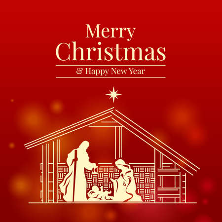 Merry christmas and happy new year banner with Nativity of Jesus scene on red background vector design 向量圖像