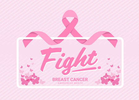 Fight breast cancer awareness month banner with pink ribbon around white frame and butterfly on soft pink stripes texture background vector design