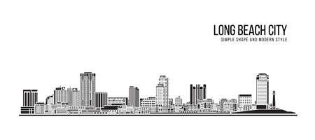 Cityscape Building Abstract Simple shape and modern style art Vector design - Long Beach city 向量圖像