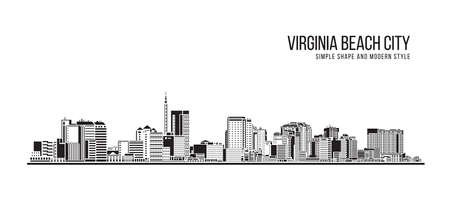 Cityscape Building Abstract Simple shape and modern style art Vector design - Virginia Beach city
