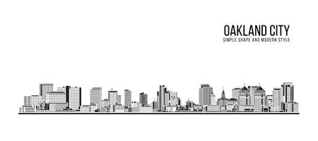 Cityscape Building Abstract Simple shape and modern style art Vector design - Oakland city
