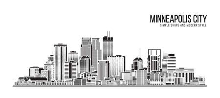 Cityscape Building Abstract Simple shape and modern style art Vector design - Minneapolis city