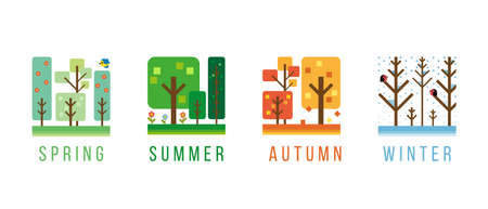 simple tree with 4 season spring, summer, autumn and winter sign vector design