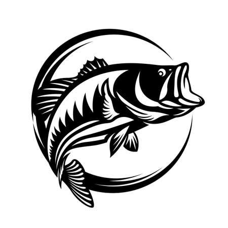 Fishing logo , The Barramundi fish jump vector art design 向量圖像