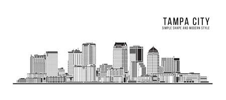 Cityscape Building Abstract Simple shape and modern style art Vector design - Tampa city 向量圖像