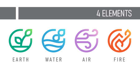 4 elements of nature earth , water , air and fire symbols with line abstract circle style vector design