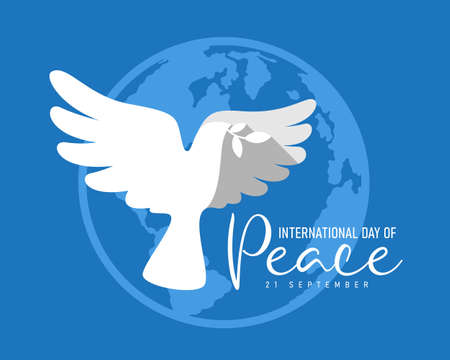 international peace day - white dove bird with leaf are flying on earth world sign and blue background vector design