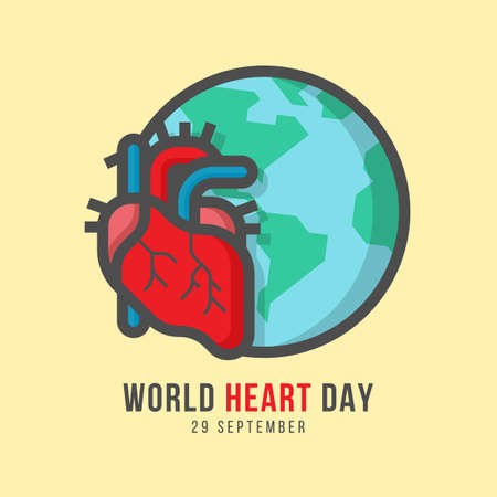 world heart day banner with human heart and globe Line Filled style on yellow background vector design