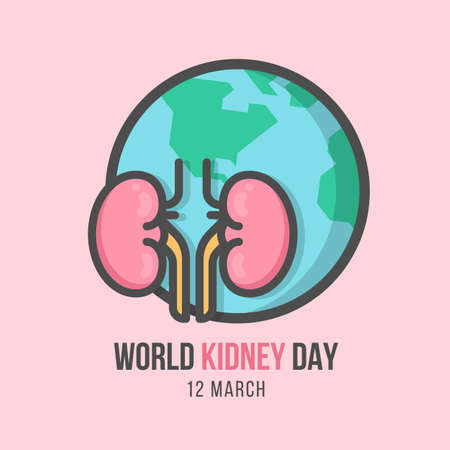 world kidney day banner with human kidney and globe Line Filled style on soft pink background vector design 向量圖像