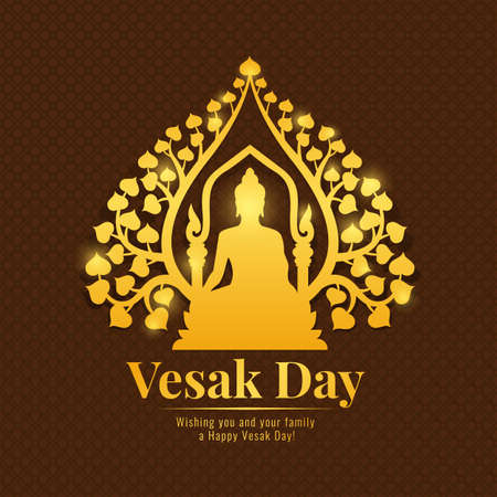 Vesak day banner with gold Buddha Meditate under bodhi tree Sign on flower brown pattern background vector design