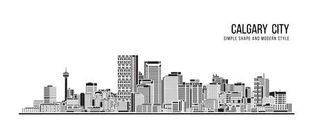 Cityscape Building Abstract Simple shape and modern style art Vector design - Calgary city