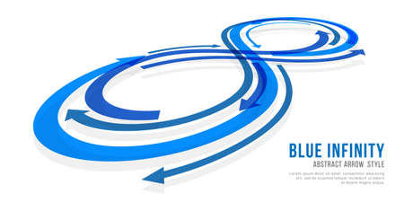Blue infinity sign with abstract arrow style vector design