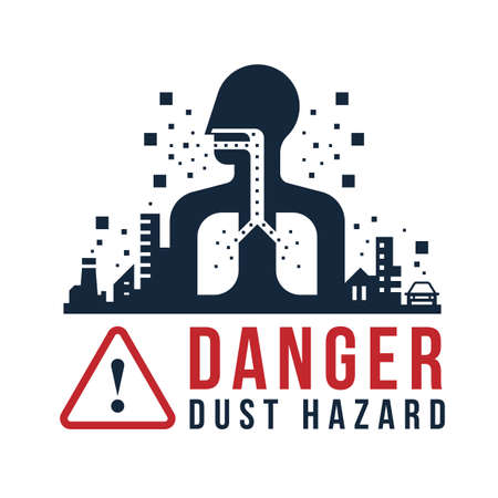 Danger dust hazard concept - human breathe dust into the lungs in cities with dust pollution sign vector design