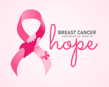 hope breast cancer awareness month banner - pink ribbon with hand hold hand sign and butterfly vector design