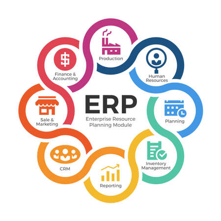 Enterprise resource planning (ERP) modules with circle cross diagram chart and icon sign vector design