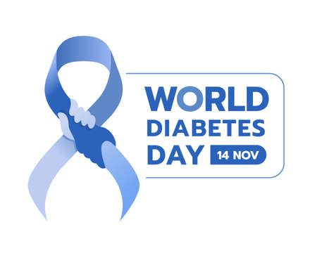 World diabetes day - blue ribbon with hand hold hand sign and text vector design Illustration