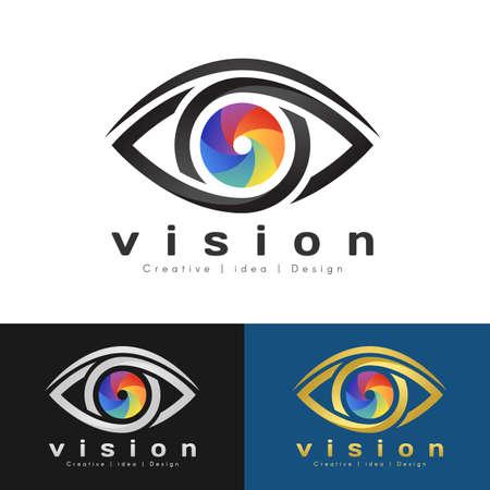 eye vision logo with Rainbow Eye Iris and black Edge of the eye sign vector design