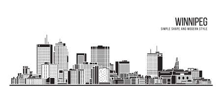 Cityscape Building Abstract Simple shape and modern style art Vector design - Winnipeg city