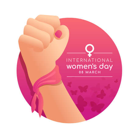 international women's day banner with woman Fist hands on pink circle butterfly texture background vector design