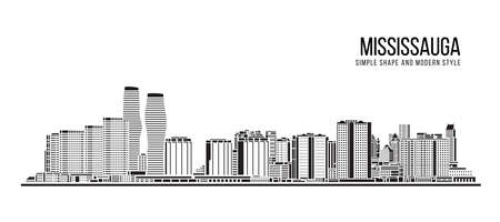Cityscape Building Abstract Simple shape and modern style art Vector design - Mississauga city