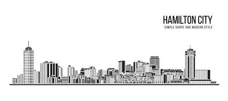 Cityscape Building Abstract Simple shape and modern style art Vector design - Hamilton city