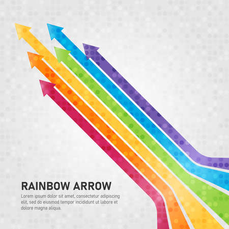 Colorful rainbow arrows Upwards and abstract circle dot texture style vector design