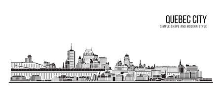 Cityscape Building Abstract Simple shape and modern style art Vector design - Quebec city