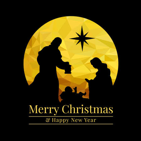 Merry christmas and happy new year banner with abstract gold low poly Nativity of Jesus scene and start on black background vector design