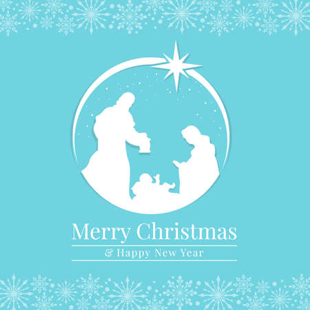 Merry christmas and happy new year banner with white Nativity of Jesus scene and start on blue snow background vector design 矢量图像