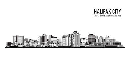 Cityscape Building Abstract Simple shape and modern style art Vector design - Halifax city 矢量图像