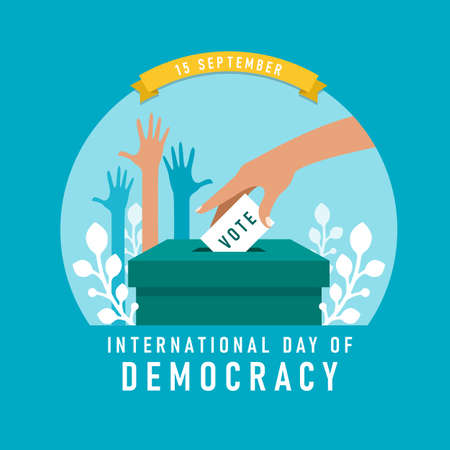 international day of democracy banner with The hand was lowering the vote card and hands was raised vector design 矢量图像