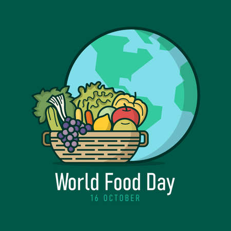 world food day banner - Basket with vegetables , fruits and the globe Filled style sign on green backfround 免版税图像 - 153367584