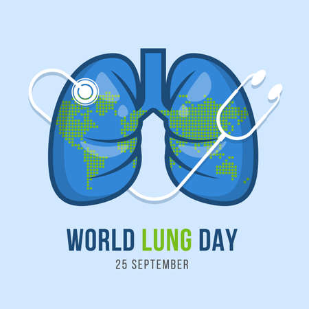 world lung day banner - stethoscope around lung with dot map world texture background vector design