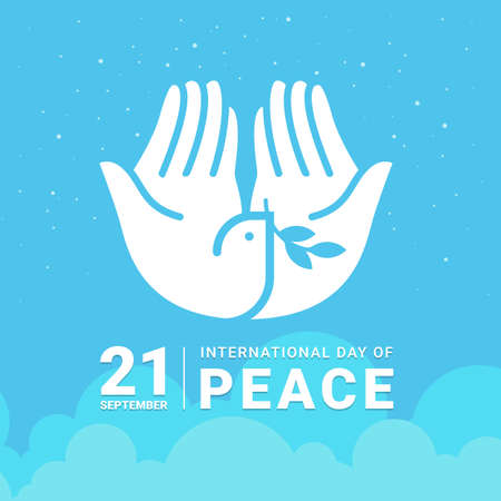 international day of peace - white hand making the form of dove hold leaf sign on sky vector design 免版税图像 - 153851363