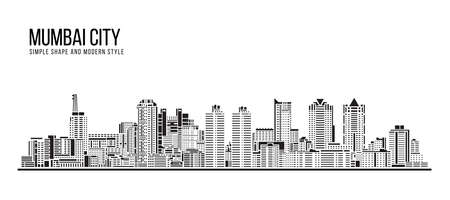 Cityscape Building Abstract Simple shape and modern style art Vector design - Mumbai city (Worli) 免版税图像 - 153823281
