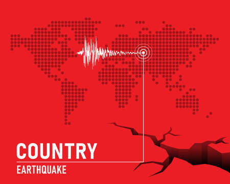Earthquake concept with Frequency seismograph waves  , cracked and dot map world on red background vector design 矢量图像