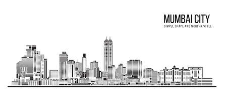 Cityscape Building Abstract Simple shape and modern style art Vector design - Mumbai city (Bombay) 免版税图像 - 153690006