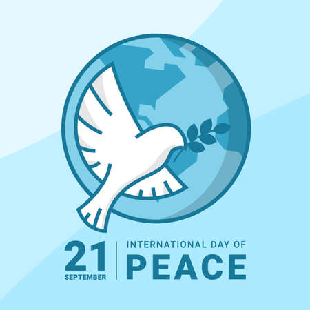 international day of peace - white bird dove flying and  hold leaf sign on circle globe world vector banner  design