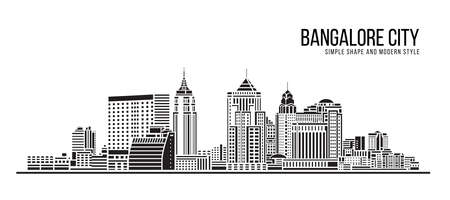 Cityscape Building Abstract Simple shape and modern style art Vector design -  Bangalore city 矢量图像