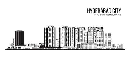 Cityscape Building Abstract Simple shape and modern style art Vector design -  Hyderabad city 矢量图像