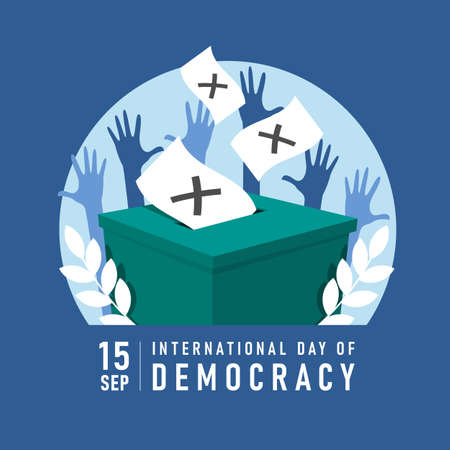 international day of democracy banner with ballot dropped into a box and hands was raised vector design 免版税图像 - 153824287