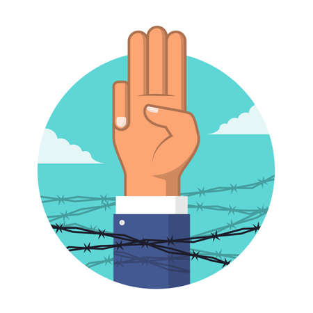 Anti dictatorship concept with Three Finger Salute surrounded by barbed wire vector design 矢量图像