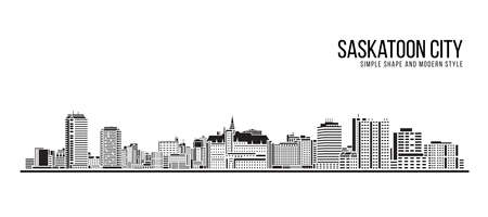 Cityscape Building Abstract Simple shape and modern style art Vector design -  Saskatoon city 矢量图像