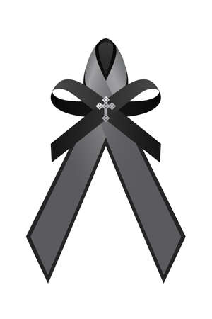 black and gray bow , ribbon and Sterling Silver Cross vector design 免版税图像 - 154301206