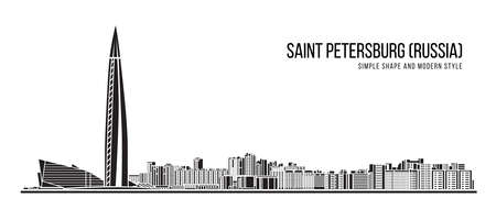 Cityscape Building Abstract shape and modern style art Vector design - Saint petersburg city (Russia) 免版税图像 - 154301208