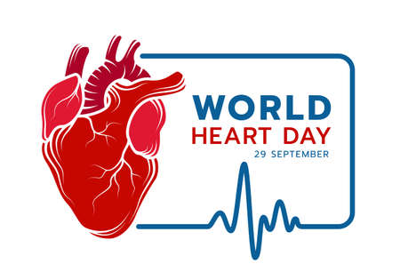 world heart day with red Real human heart Drawing sign line and blue frame Of Heart Rhythm Or Heart Wave vectir design 矢量图像