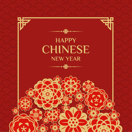 Happy chinese new year text in red  gold flower blossom are half  circle and china frame on red texture background vector design