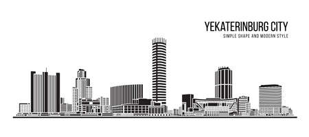 Cityscape Building Abstract shape and modern style art Vector design - Yekaterinburg city (russia) 免版税图像 - 154301212